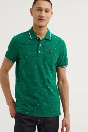 regular fit polo met all over print groen