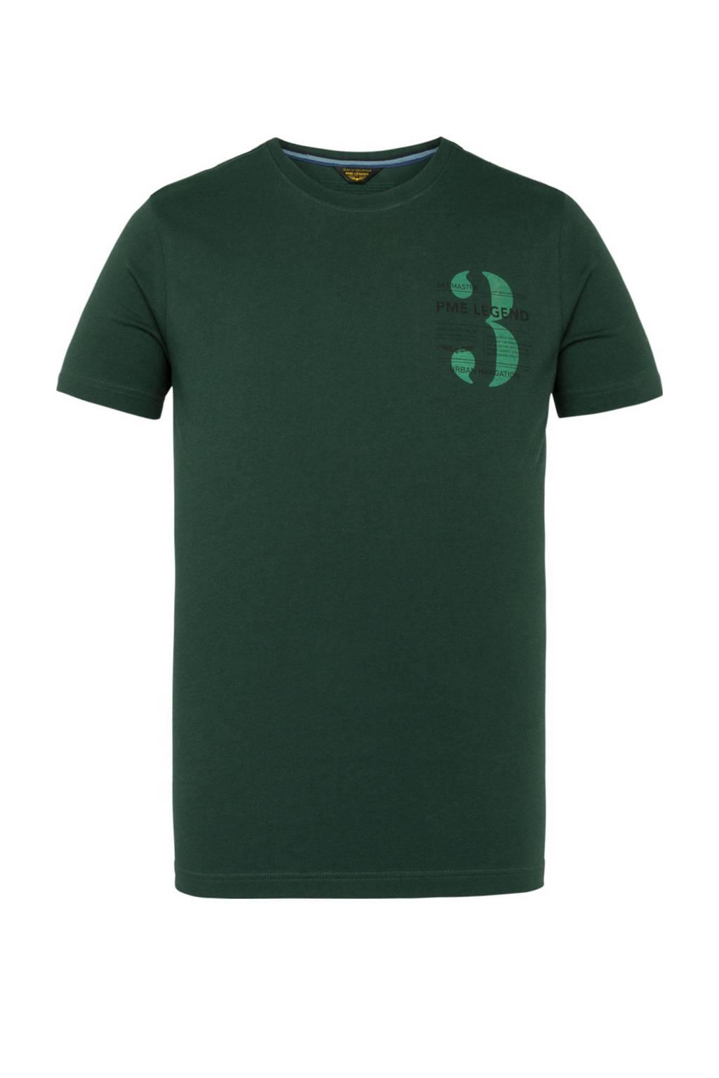 PME Legend T-shirt met logo donkergroen, Donkergroen