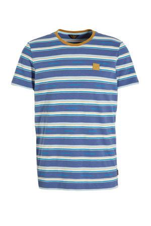 gestreept T-shirt blauw/wit/geel
