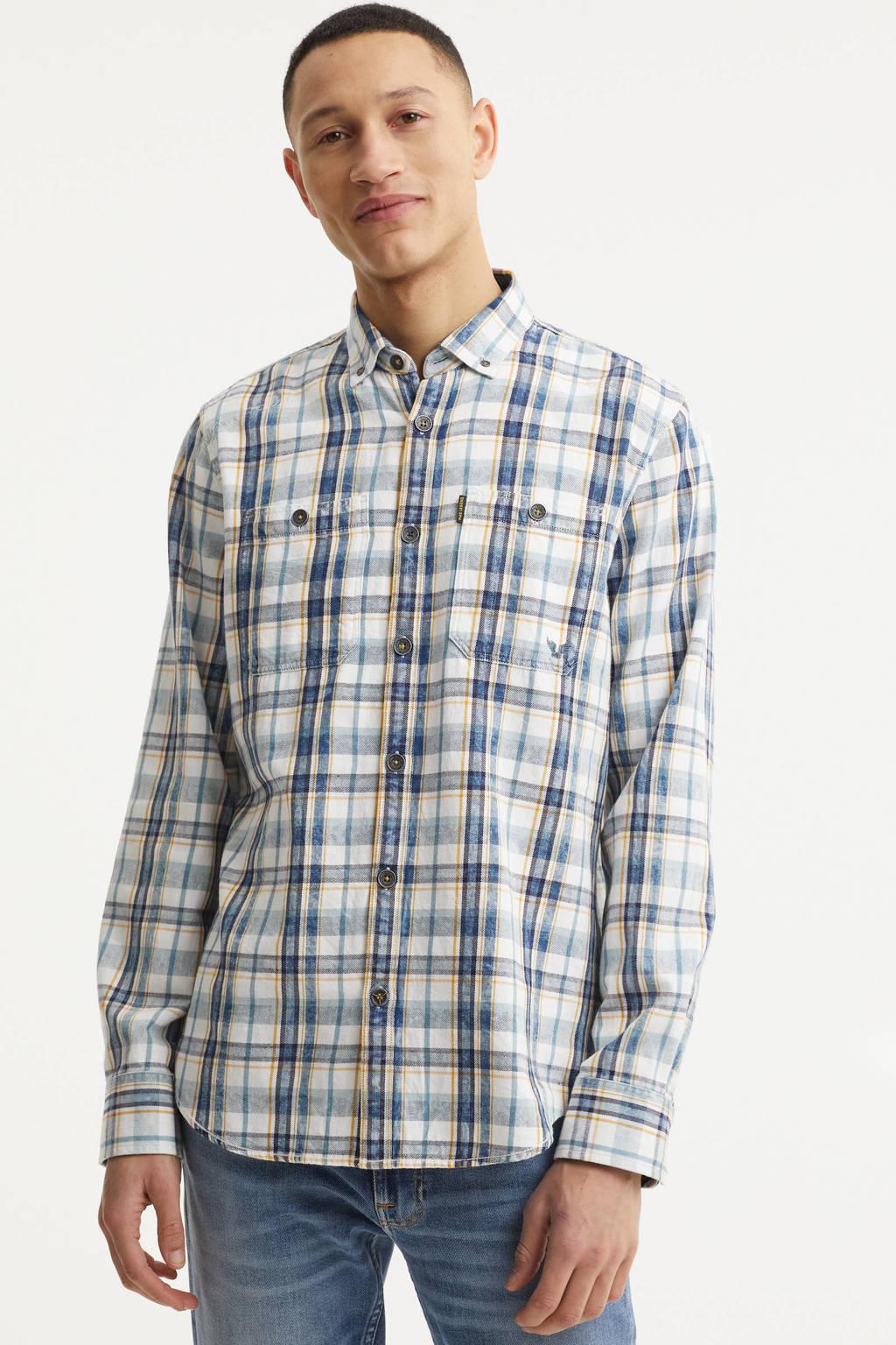 PME Legend geruit regular fit overhemd blauw/wit, Blauw/wit