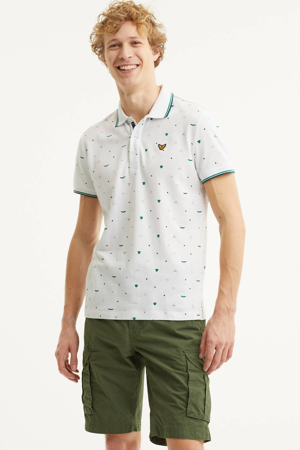 PME Legend regular fit polo met all over print wit, Wit