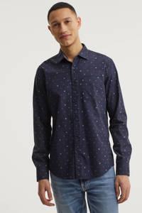 PME Legend regular fit overhemd met all over print donkerblauw, Donkerblauw