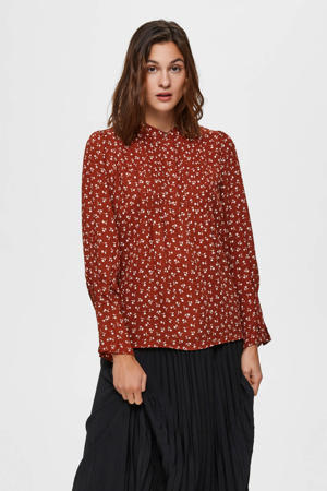 blouse met all over print brique