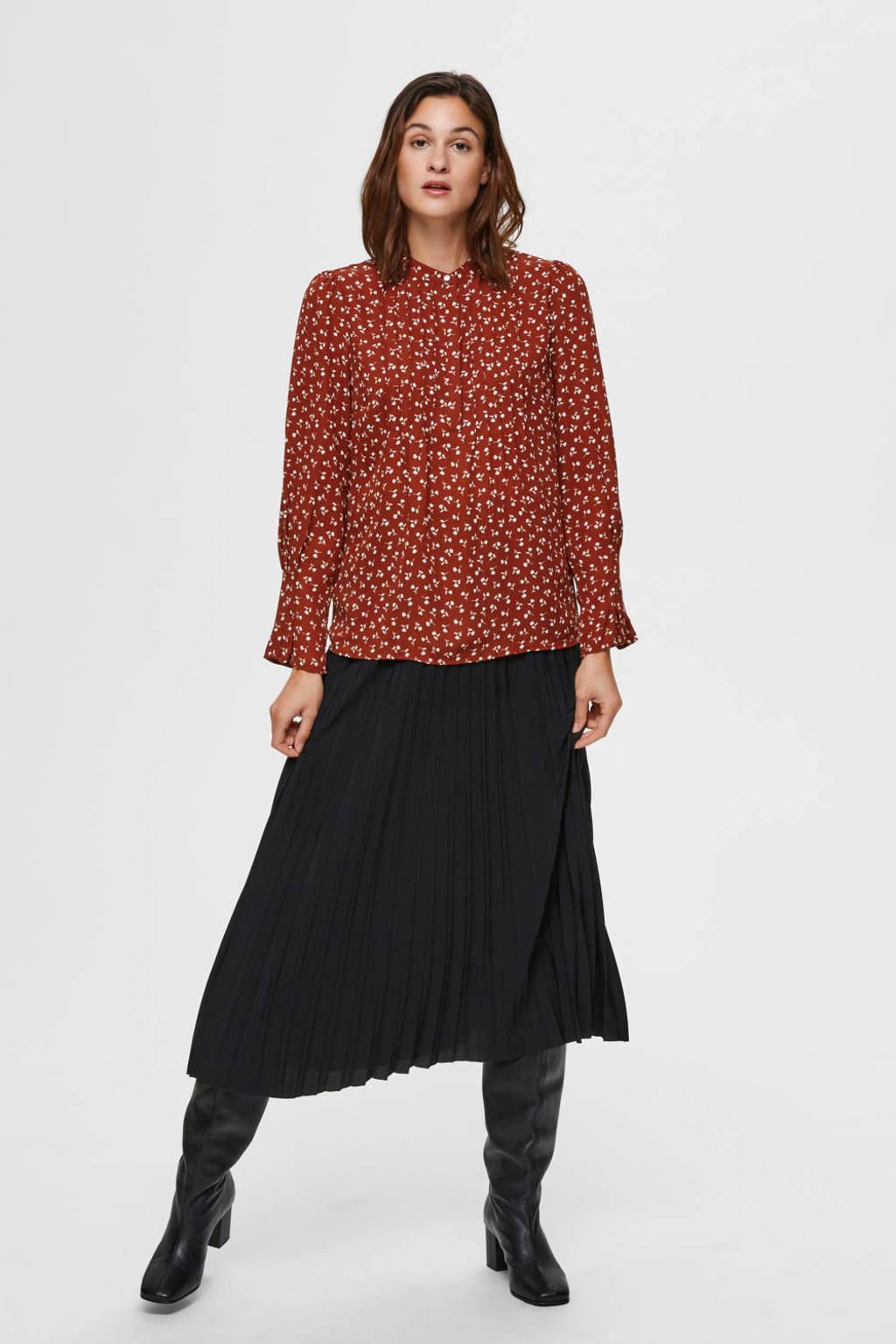 SELECTED FEMME blouse met all over print brique, Brique/wit