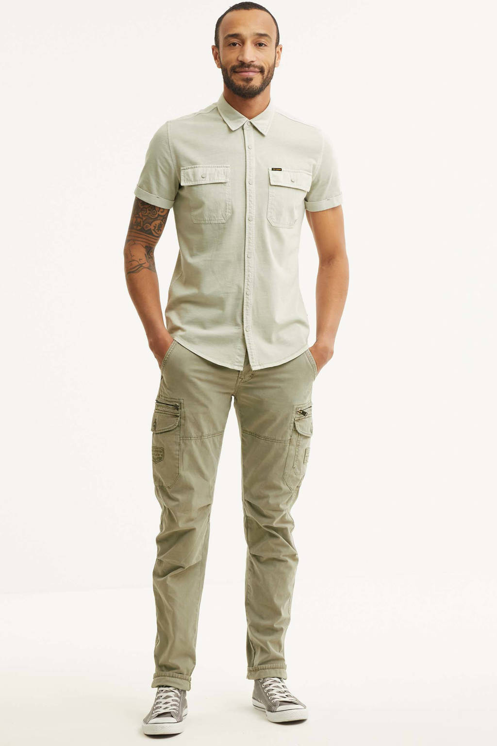 PME Legend tapered fit cargobroek Skytrooper beige, Beige