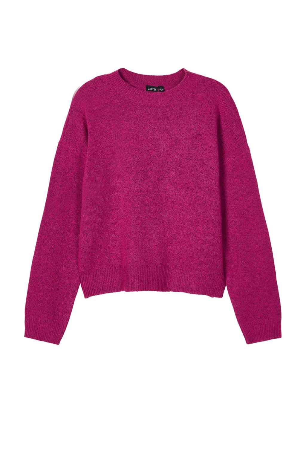 LMTD trui Nonette van gerecycled polyester roze, Roze