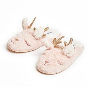 pantoffels rendier van imitatiebont roze/wit