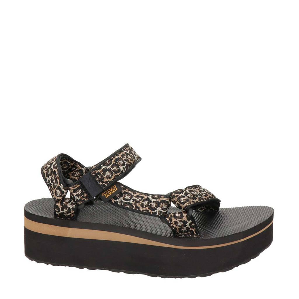 Teva Flatform Universal  plateau sandalen met panterprint bruin, Bruin/zwart