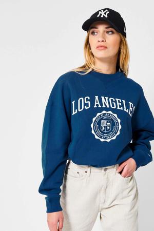 sweater Sue met tekst blauw