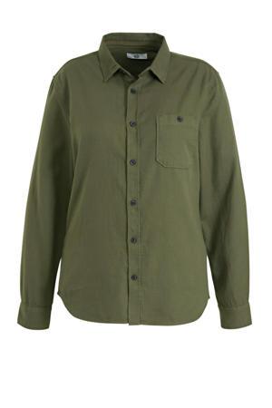 slim fit overhemd olijfgroen