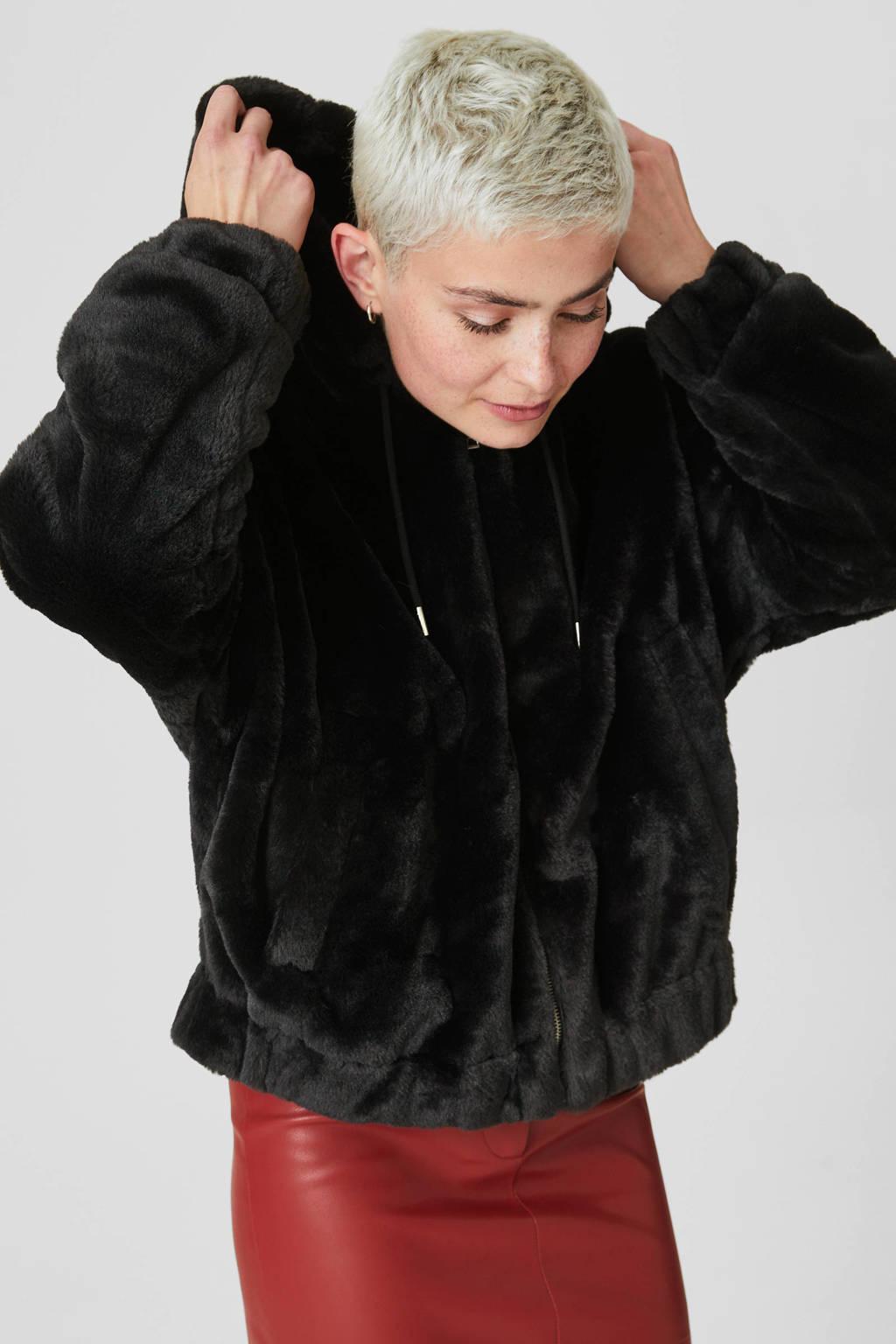 C&A Clockhouse imitatiebont winterjas zwart, Zwart