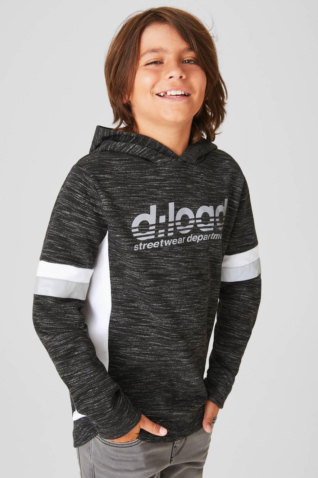 C&A gemêleerde hoodie antraciet/wit/grijs, Antraciet/wit/grijs