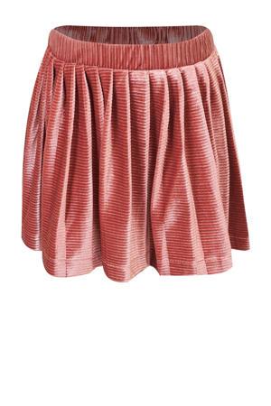 fluwelen rok Shirley met plooien warm roze
