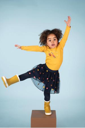 mesh rok Esmee met stippen en mesh donkerblauw/geel/roze