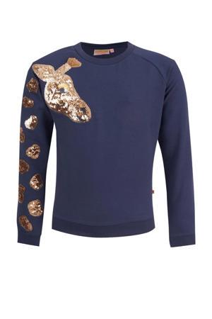 sweater Esmee met printopdruk donkerblauw/bruin