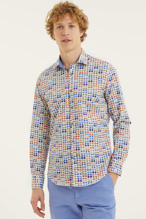 slim fit overhemd met all over print blauw/wit/oranje