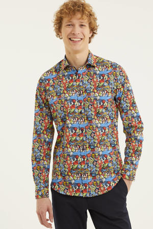 slim fit overhemd best of Brood met all over print rood/blauw/geel