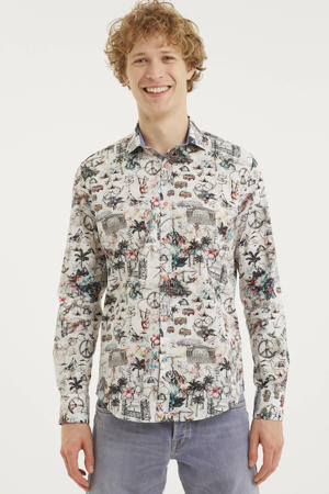 slim fit overhemd met all over print wit/zwart/rood