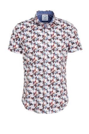 slim fit overhemd wit/oranje/blauw