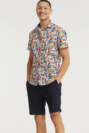 gebloemd slim fit overhemd wit/oranje/geel/petrol