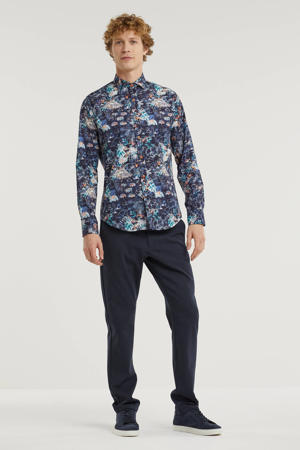 slim fit overhemd Festival met all over print blauw