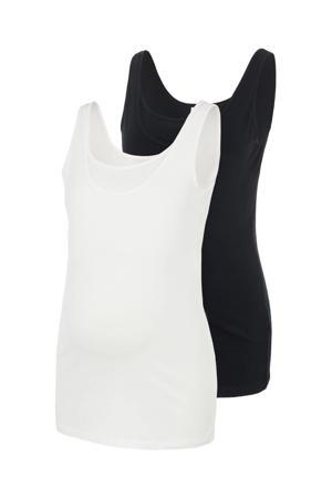 zwangerschapssinglet Sia - set van 2 zwart/wit