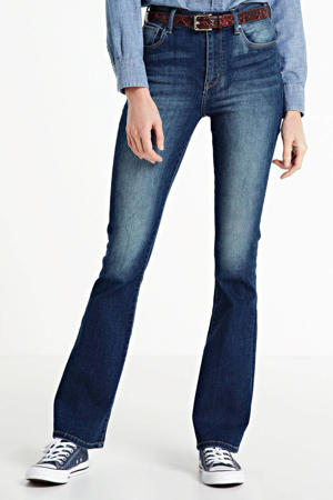 high waist flared jeans Sunrise dark denim