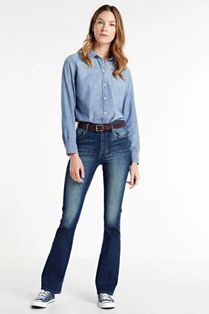 high waist flared jeans Sunrise dark denim