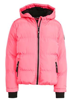gewatteerde winterjas Chrysann roze/zwart