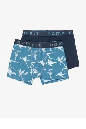 boxershort - set van 2 blauw/wit/donkerblauw