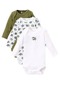 NAME IT BABY newborn baby romper - set van 3 groen/wit/zwart, Groen