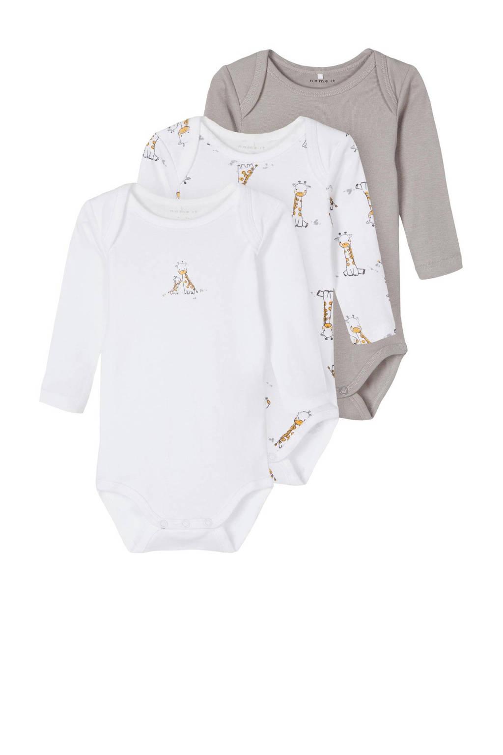 NAME IT BABY newborn baby romper - set van 3 wit/grijs melange/geel, Grijs melange/wit/geel