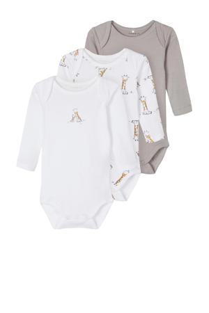 newborn baby romper - set van 3 wit/grijs melange/geel