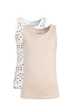 hemd - set van 2 zalmroze/wit