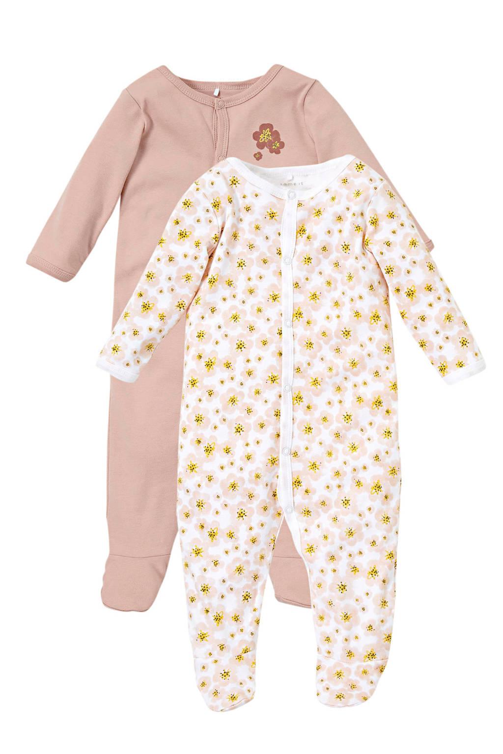 NAME IT BABY baby boxpak - (set van 1), Oudroze/geel/wit