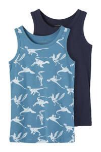 NAME IT MINI hemd - set van 2 lichtblauw/donkerblauw, Lichtblauw/donkerblauw