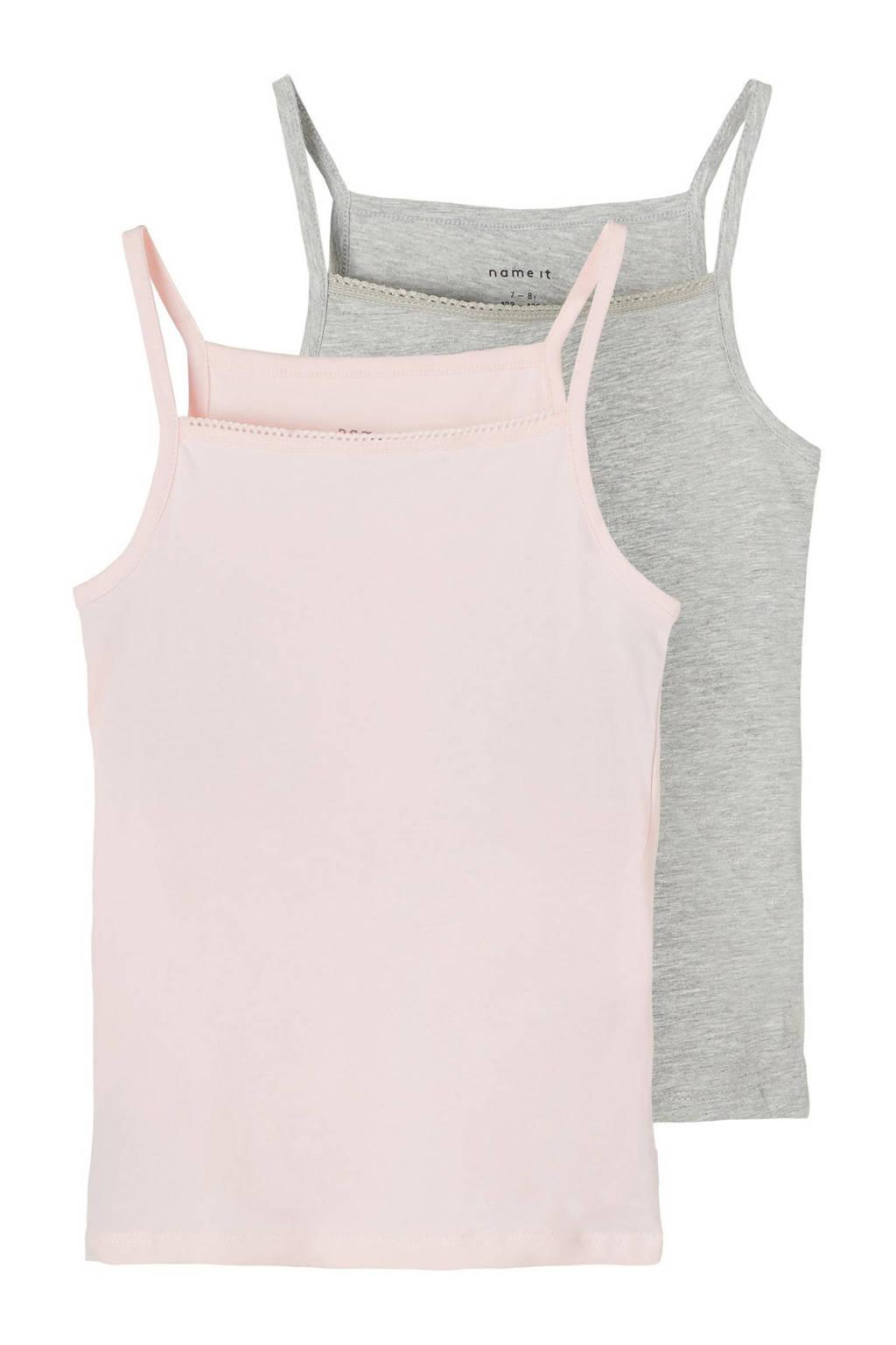 NAME IT KIDS hemd - set van 2 grijs melange/roze, Grijs melange/roze