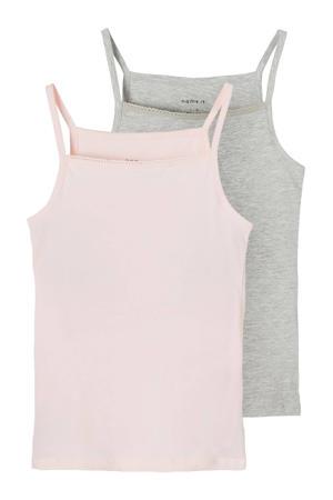 hemd - set van 2 grijs melange/roze