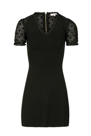 semi-transparante jurk met stippen en kant zwart