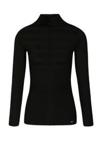 Morgan fijngebreide trui met contrastbies en textuur zwart, Zwart