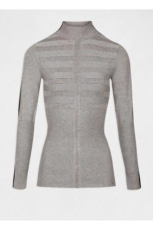 fijngebreide trui met contrastbies en textuur grijs