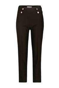 Morgan cropped high waist straight fit broek zwart, Zwart