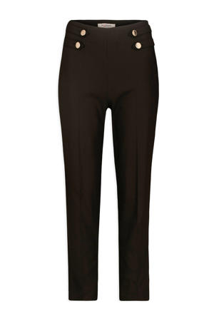 cropped high waist straight fit broek zwart