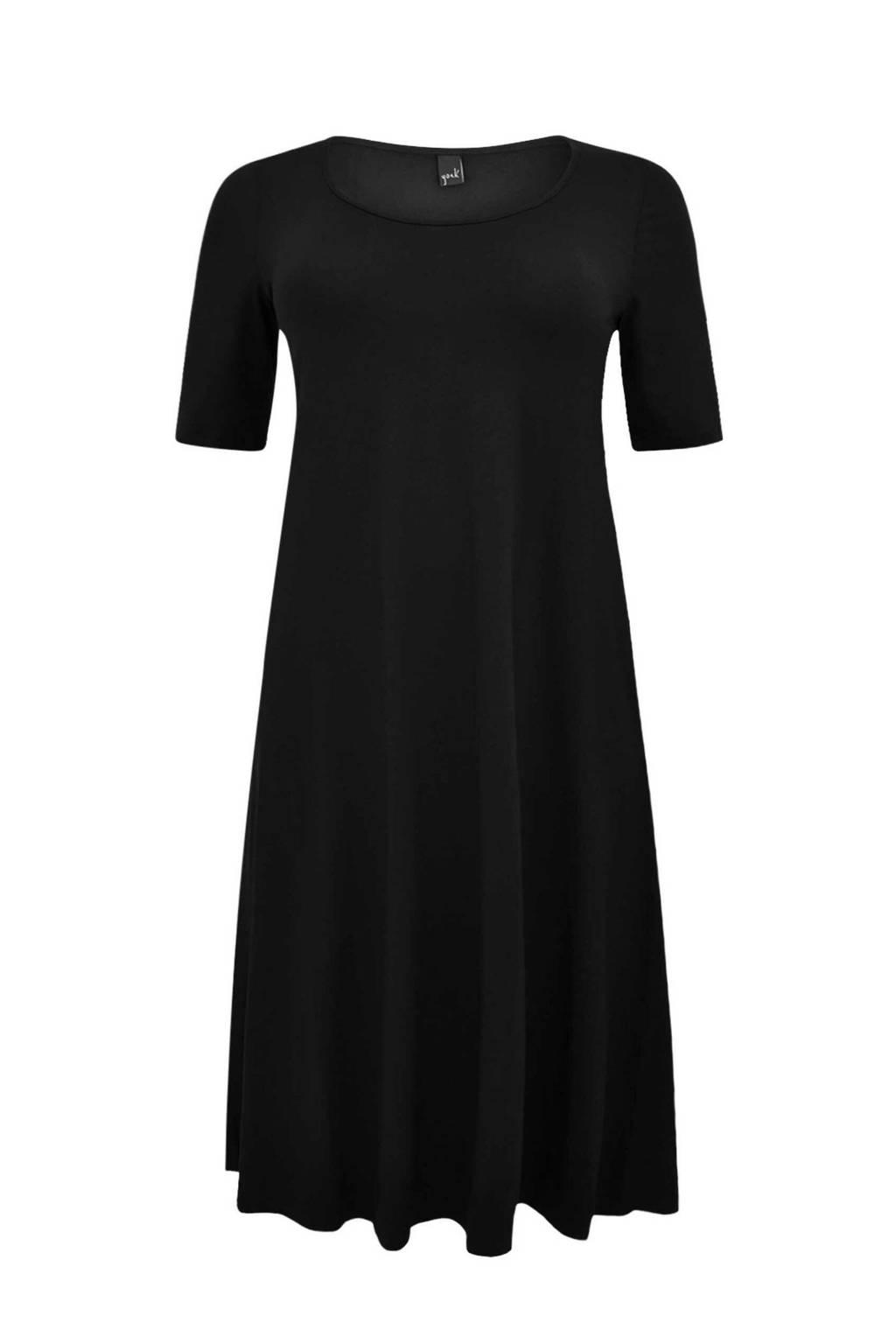 Yoek jurk met plooien zwart, Zwart