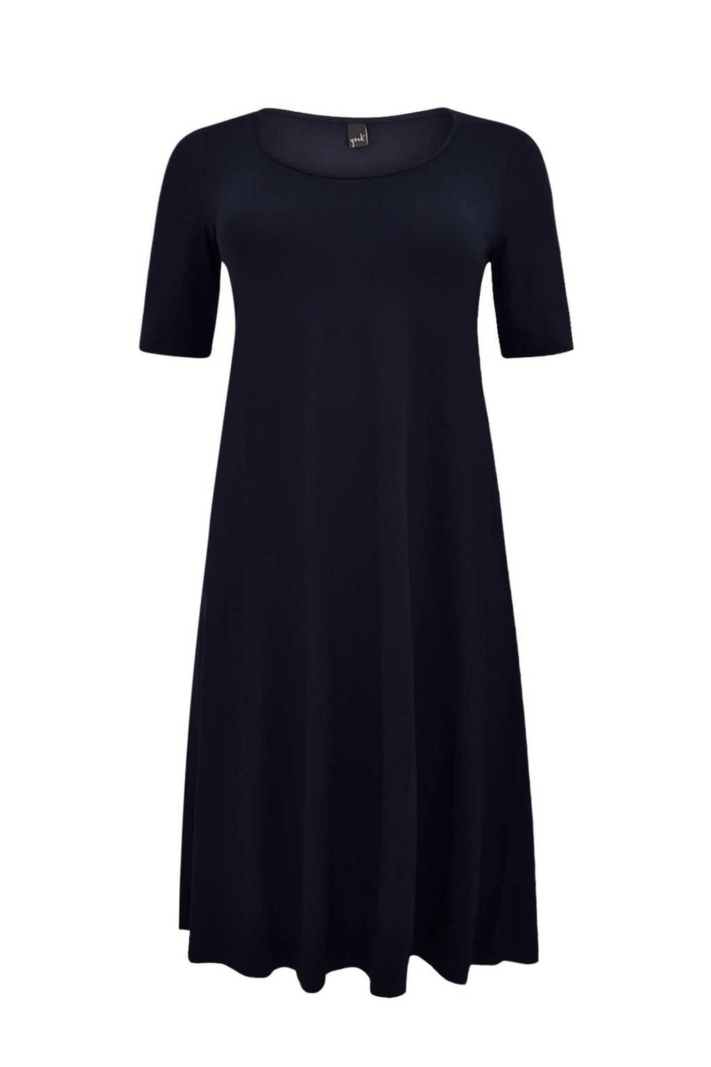 Yoek jurk met plooien donkerblauw, Donkerblauw