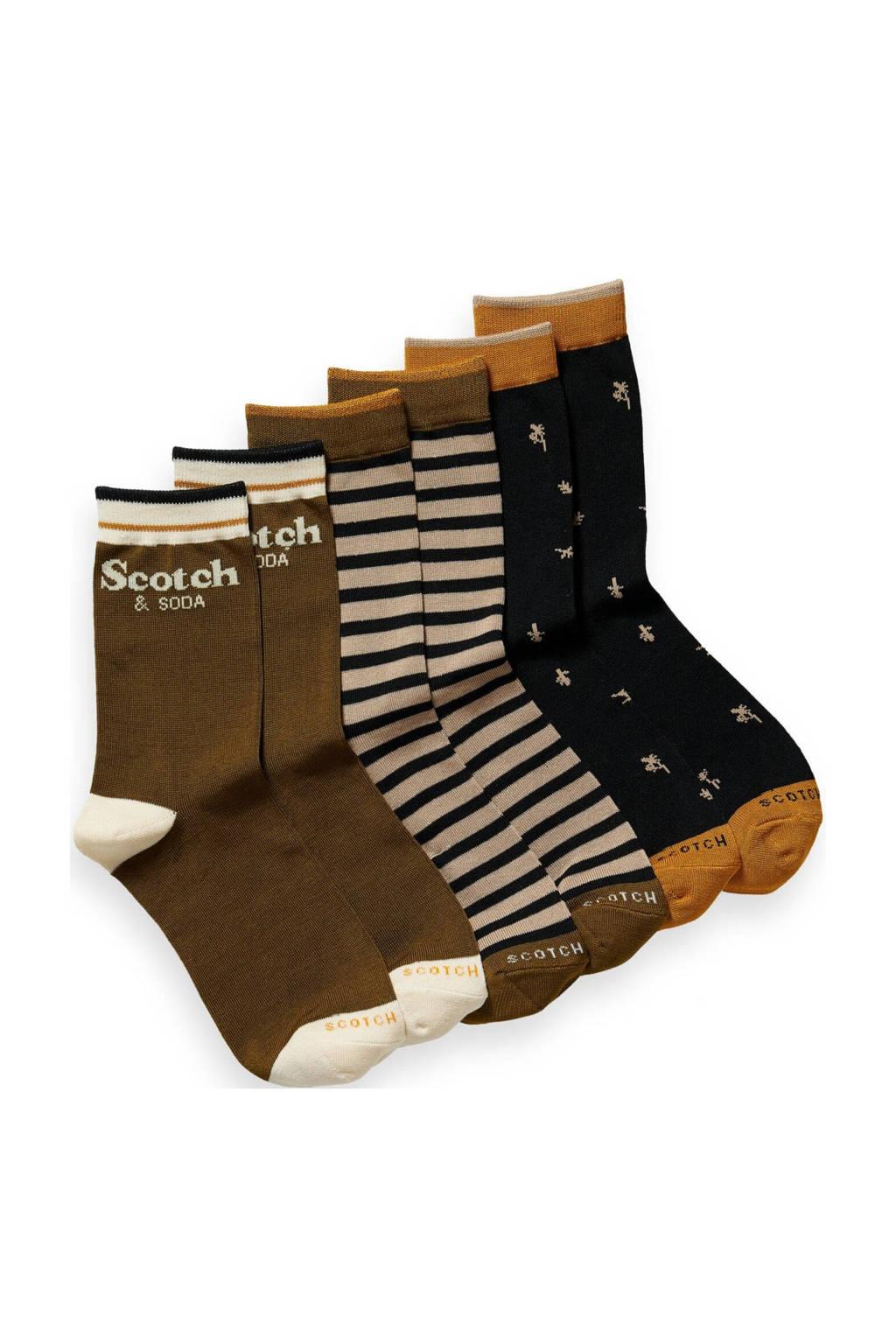 Scotch & Soda sokken - set van 3 donkerbruin, Donkerbruin