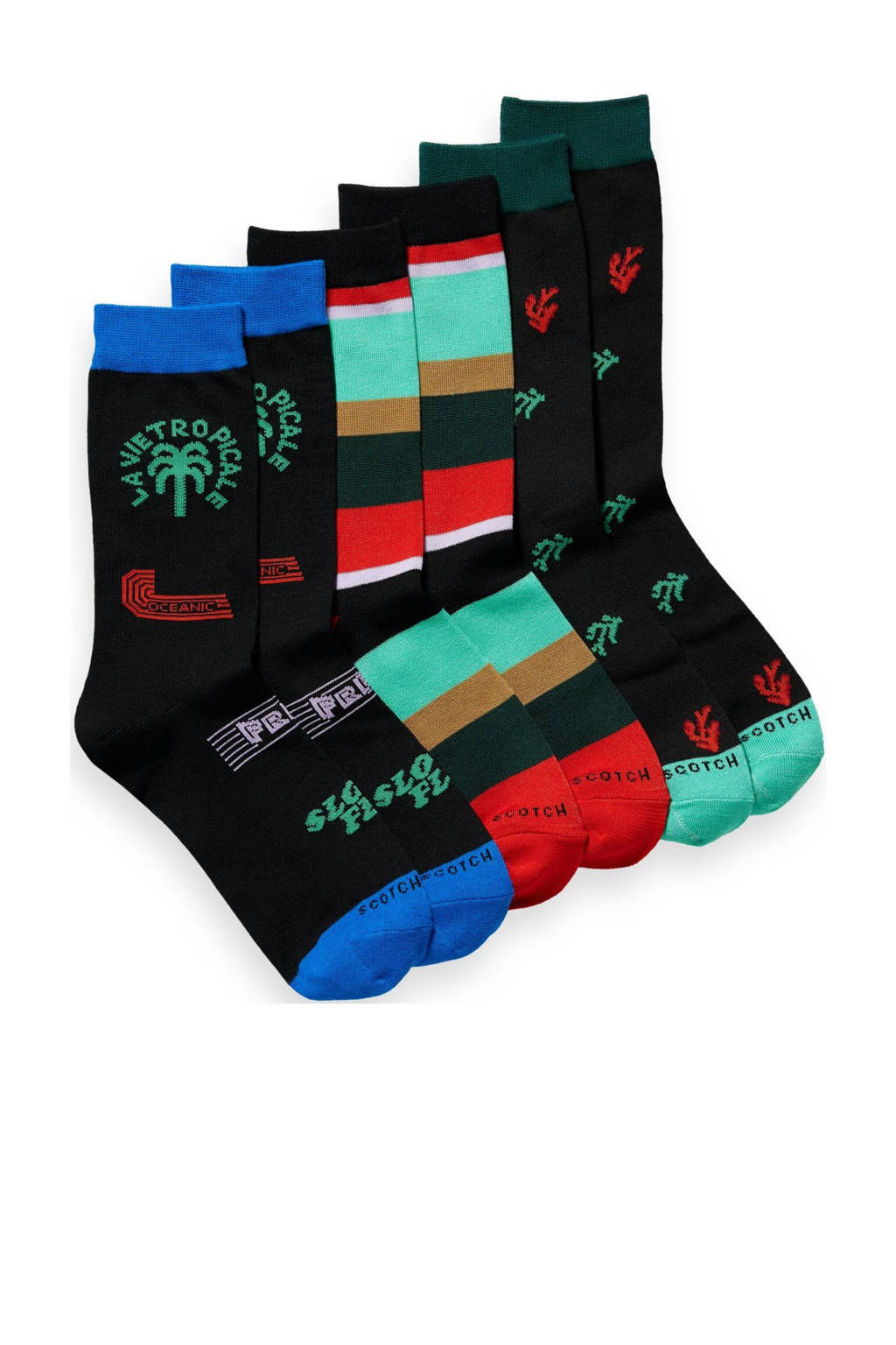 Scotch & Soda sokken - set van 3 zwart/multi, Zwart/multi
