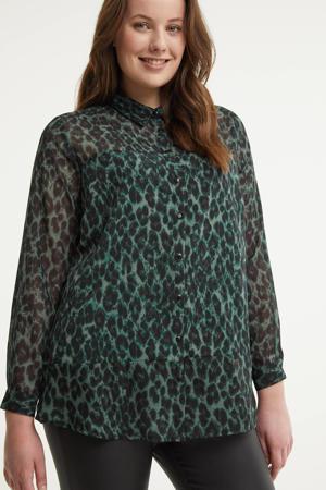 semi-transparante blouse met panterprint donkergroen/zwart