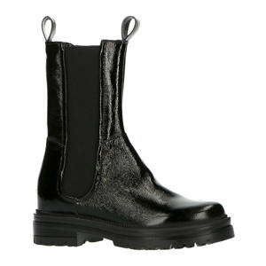 M77203  hoge lakleren chelsea boots zwart