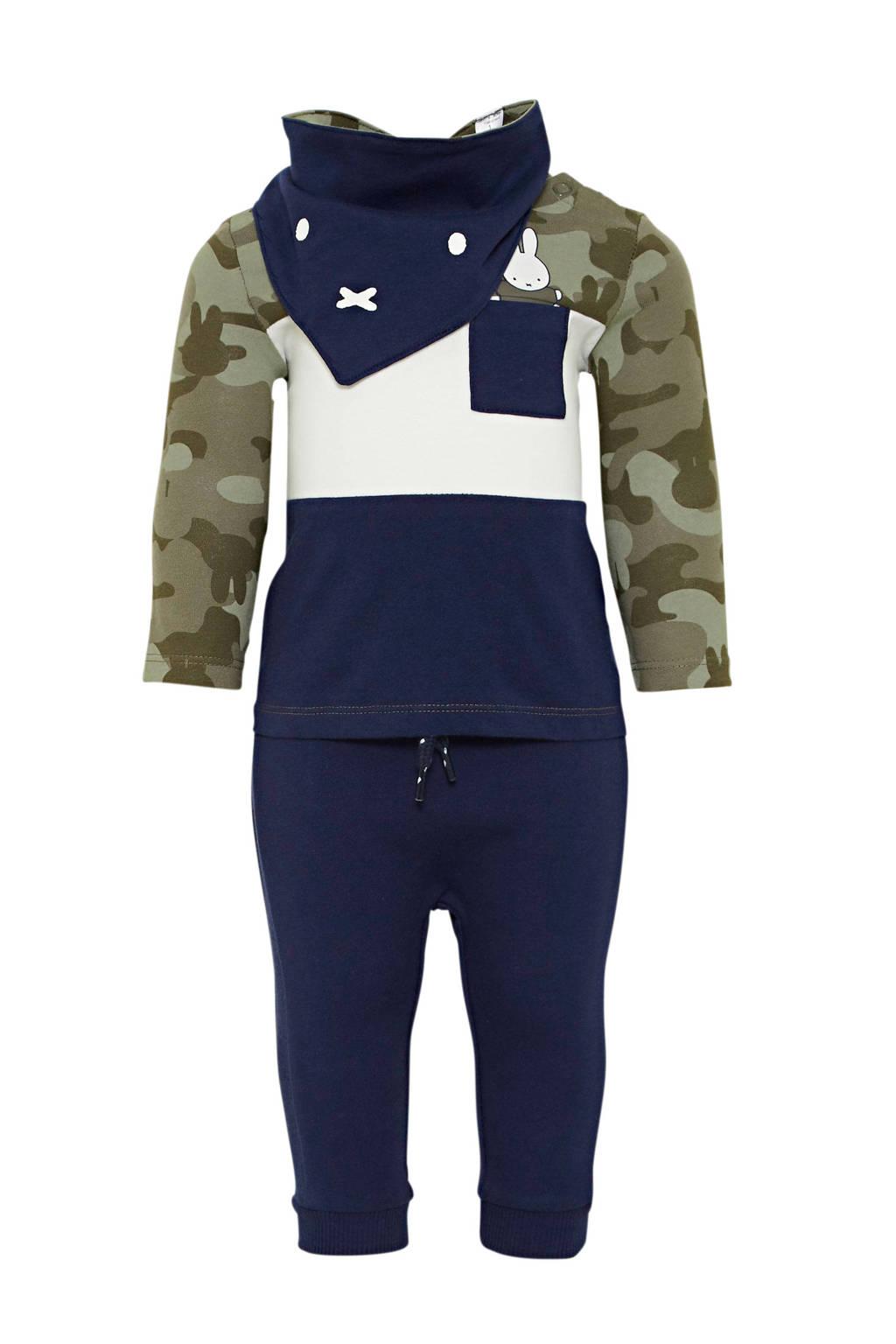 C&A longsleeve + broek en slab Nijntje army groen/donkerblauw, Donkerblauw/army groen